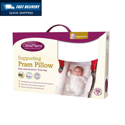 Clevamama Foam Pram Pillow with Cotton Case Included