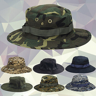 KQ_ Woodland Fishing Hiking Tactical Military Sun Bucket Camo Boonie Hat Cap Wit