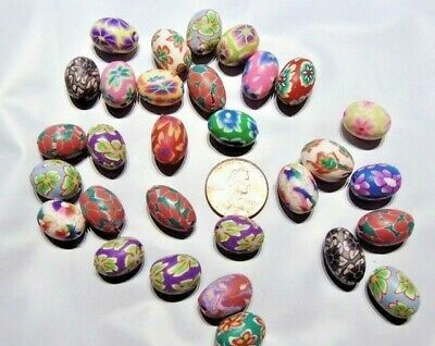 30 Beads Mix Multicolored Flower Design Polymer Clay ~ Oval Easter Egg 15x10mm