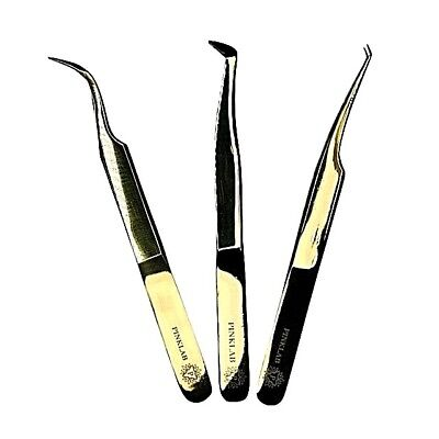 "Rev Pro Gold Tweezer/ 3 pack set / Single / Volume/ Isolation""LImited time only"""