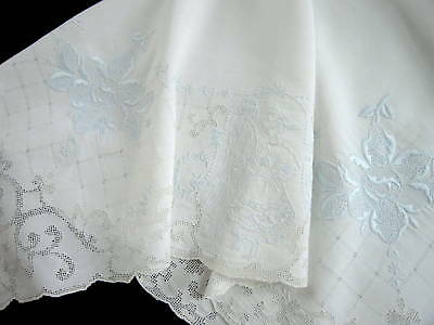 Antique Swiss Appenzell Blue Embroidered White Linen Bridal Figural Tablecloth
