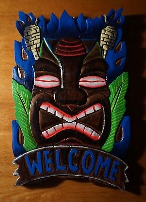 Wood Carved Tiki Idol Statue Mask Blue Welcome Sign Beach Bar Home Decor - NEW