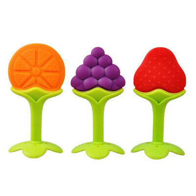 KQ_ Safety Silicone Baby Orange Strawberry Grape BPA Free Training Tooth Teether