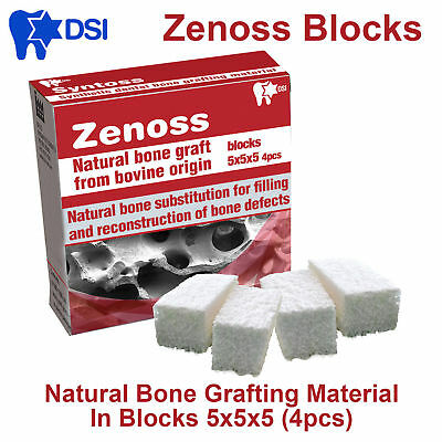 Zenoss Dental Implant Natural Bone Graft Material Bovine Blocks 5x5x5 4pcs