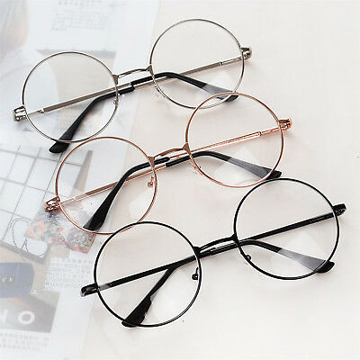 Korean Style Nerd Spectacles Eyeglass Metal Frame Clear Round Lens Glasses UP