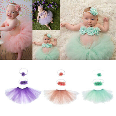 Girls Baby Newborn Toddler Tutu Skirt Headband Set Dress Birthday Photo Prop