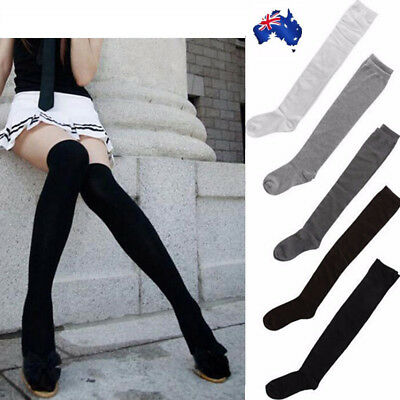 Women Socks Stockings Warm Thigh High Over the Knee Plain Long Cotton AU