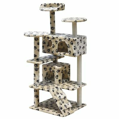 Cat Tree Scratching Post Scratcher 2 Houses Gym Condo 126cm Beige w/ Paw Prints