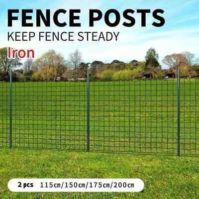 vidaXL 2pcs Garden Mesh Fence Post 115/150/175/200cm Iron Outdoor Wire Fencing