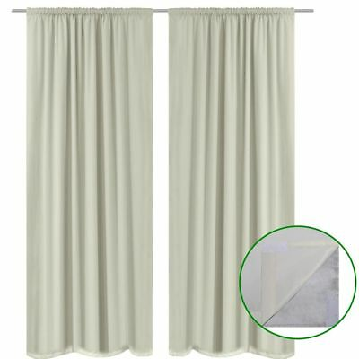 vidaXL 2x 100% Blockout Eyelet Curtains Double Layer Darkening 140x245cm Cream