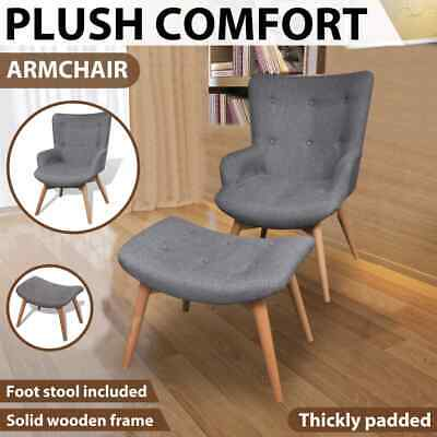 Grey Fabric Armchair w/ Stool Lounge Chair Footstool Modern Living Room Lounge
