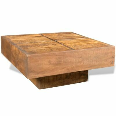 vidaXL Solid Mango Wood Coffee Table Square Brown Vintage Side Plant Stand