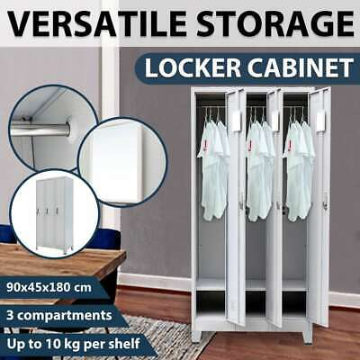 vidaXL 3 Door Steel Locker Cabinet Office School Storage Gym Sport Changing Room