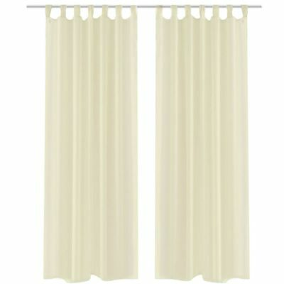 2x Voile Door Window Curtain Drape Panel Sheer Scarf Divider Bedroom Cream 225cm