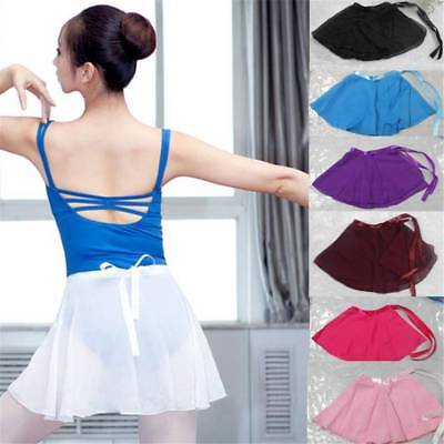 7 Colors Girls Ballet Leotard Wrap Scarf Tutu Dance Skirt Skate Chiffon Dress AD