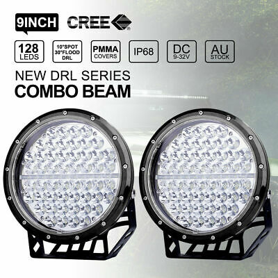 Pair 9 inch CREE LED Driving Lights Round Spotlights With DRL Black 4X4 12V 24V