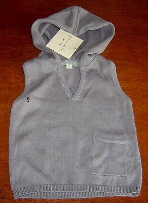 Grain De Ble French Baby Boys Hooded Cotton Vest Sz  6 Months New With Tags
