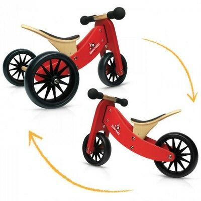 NEW Kinderfeets Tiny Tot 2 in 1 Wooden Trike & Balance Bike Bamboo Pink Red Blue
