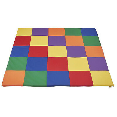 Kids Patchwork Play Mat Vinyl Cushion Preschool Daycare Toddler Bed Room Floor