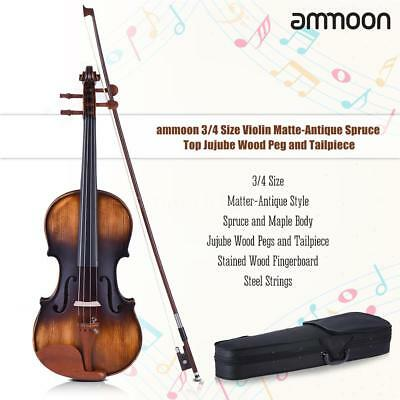 ammoon 3/4 Size Violin Matte-Antique Spruce Top Jujube Wood Parts(Peg and K8F3