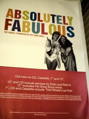 ABSOLUTELY FABULOUS (Pet Shop Boys)  ORIGINAL Promotional POSTER  13x20 inches