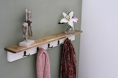 Shabby Chic Coat Rack With Shelf Solid Wood Vintage Rustic White Chalk Cast Hook