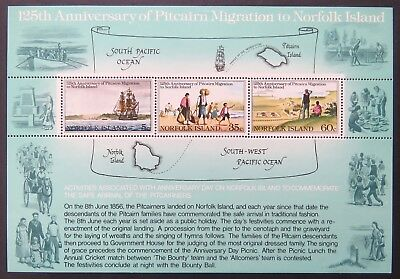 1981 Norfolk Island Stamps - 125th Anniversary Pitcairn Migration Mini Sheet MNH