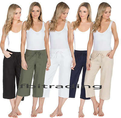 Ladies Cropped Linen Trousers Womens 3/4 Length Shorts Size 10 12 14 16 18 20 22