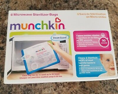 Munchkin Microwave Sterilizer Bags 6 Ct. NEW
