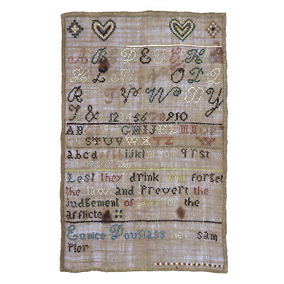 Early 19th c. Sampler by Eunice Douglass ~ AAFA
