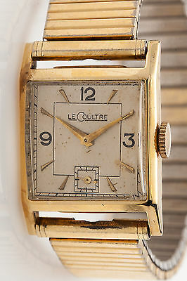 Vintage 1950s 14k Yellow Gold LeCoultre Mens Tank Dress Watch SUBSECONDS SVC WTY