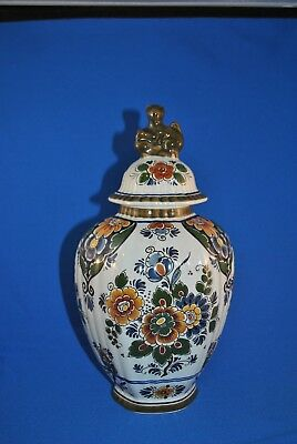 Delft Multi-color Vintage Polychrome Urn/Ginger Jar with Lid Dahlias, Peonies