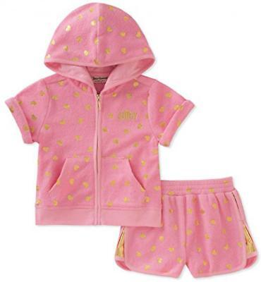 Juicy Couture Big Girls Pink & Gold 2pc Short Set Size 7 8/10 12 $80