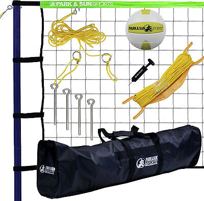 Park & Sun Spiker Sport Steel Green Portable Outdoor Volleyball Net Set with Bag