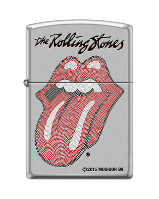 "Zippo ""Rolling Stones Logo"" Lighter, Satin Chrome Finish, 1258"