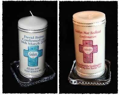 Godson & Goddaughter Confirmation Candle Pink Blue Cross Personalised Gift #8