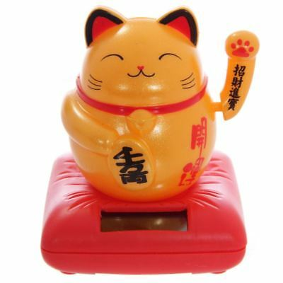 Gold Waving Chinese Japanese Oriental Beckoning Lucky Cat Solar Powered Pal
