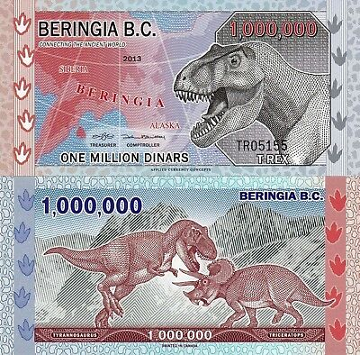 Beringia 1 Million Dinars (2013)  T. Rex/Fighting Dinosaurs