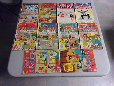 Silver-Bronze Age Archie Comics 10 Mixed Issue Lot (Jughead/betty/veronica)