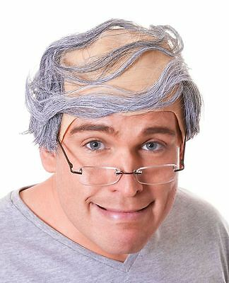 Mens Old Man Grandpa Bald Baldy Comb Over Grey Hair Fancy Dress Costume Wig