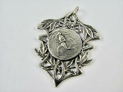 Antique French Continental Silver Sporting Medal Pendant Fob Art Nouveau 1920s