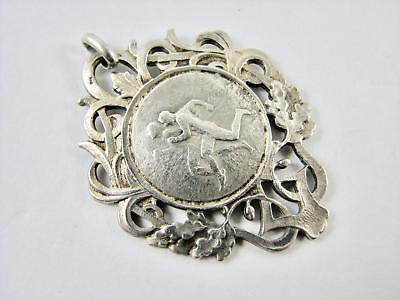 Antique French Continental Silver Sporting Medal Pendant Fob Art Nouveau 1922