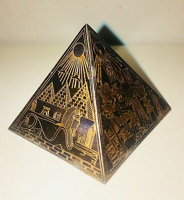 Antique Egyptian Bronze Metal Pyramid Etched Brass/Copper Ancient Egypt King Tut