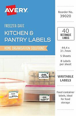Avery 39020 Labels Writable Organisation & Storage Freezer Safe Removable 40 Per