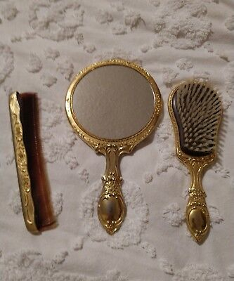Vintage Gold-tone Metal Victoria Style Hair Brush/Comb and Hand Mirror 1930's