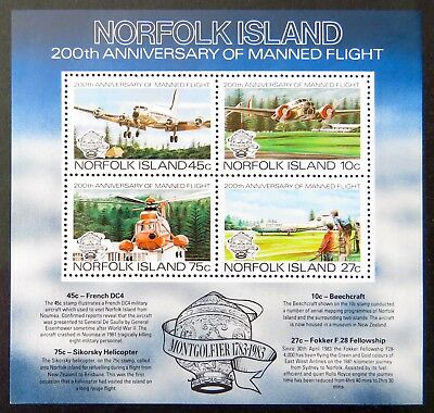 1983 Norfolk Island Stamps - 200th Anniversary of Manned Flight - Mini Sheet MNH