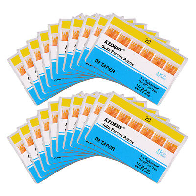 50Kits AZDENT Dental Gutta Percha Points GP 0.02 20# 120 Points Color Coded/Pack