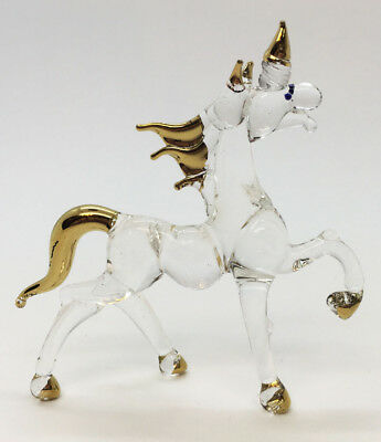 Horse Unicorn Cute Blown Glass Blowing Art Animal Hand Fancy Collectibles