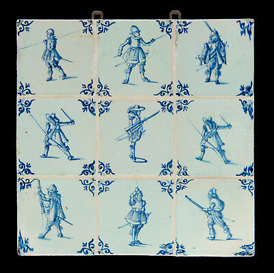 9 Dutch Delft tiles with soldiers from the 17th century Excellent condition