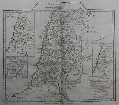 Original antique map PALESTINE, 'PALAESTINA', TRIBES, JERUSLAEM, D'Anville, 1794